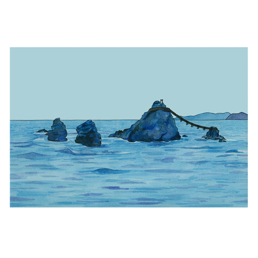 Archival print of Meoto-Iwa (the Wedded Rocks) from A Year in Japan by Kate T. Williamson