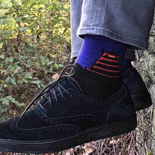 MADE IN USA men's cotton socks with the Reading Pagoda by THIS NIGHT