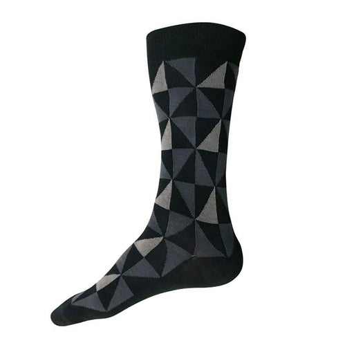 MADE IN USA men's black cotton socks by THIS NIGHT with grey & charcoal geometric pattern