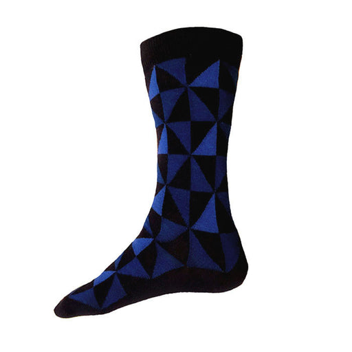 MADE IN USA men's navy cotton socks with blue geometric pattern by THIS NIGHT
