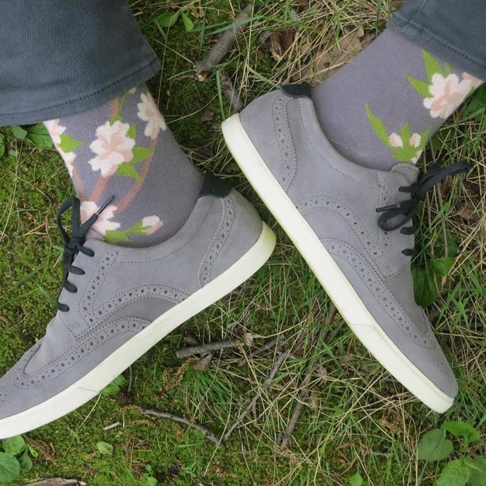 MADE IN USA men's grey cherry blossom (sakura) botanical socks by THIS NIGHT