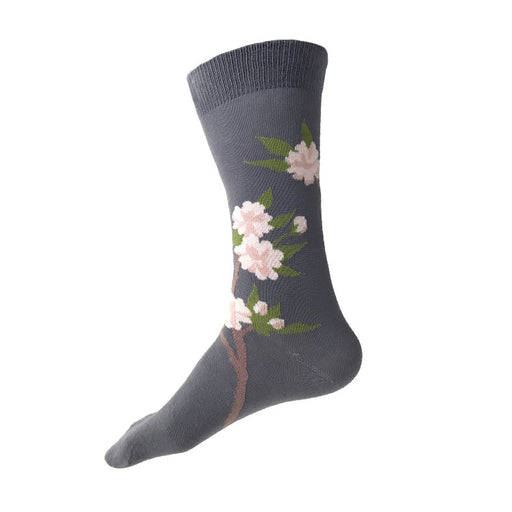 MADE IN USA men's grey cotton cherry blossom (sakura) botanical socks by THIS NIGHT