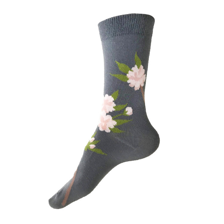 MADE IN USA grey cotton Cherry Blossom (Sakura) socks by THIS NIGHT