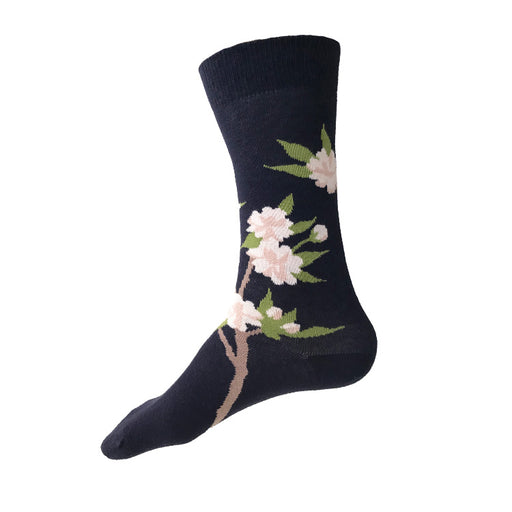 MADE IN USA men's navy Cherry Blossom (Sakura) cotton socks by THIS NIGHT