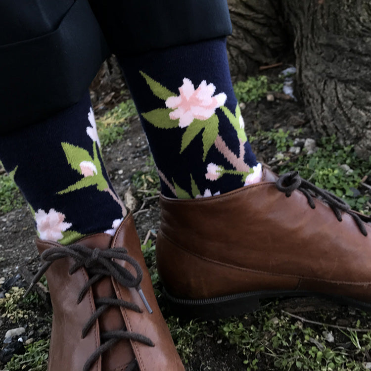 MADE IN USA women's navy cotton Cherry Blossom (Sakura) botanical socks by THIS NIGHT