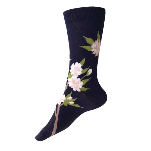MADE IN USA women's Cherry Blossom (Sakura) botanical socks in navy cotton by THIS NIGHT