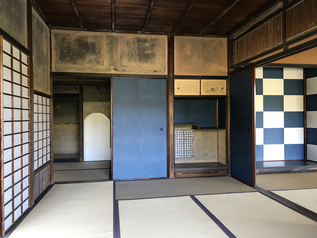 Shokin-tei Teahouse with checkered sliding panels at Katsura Rikyū (Imperial Villa) in Kyoto, inspiration for Katsura Check socks by THIS NIGHT