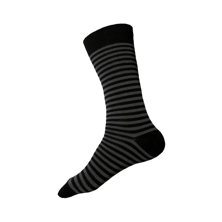 MADE IN USA men's cotton striped socks by THIS NIGHT in black and grey
