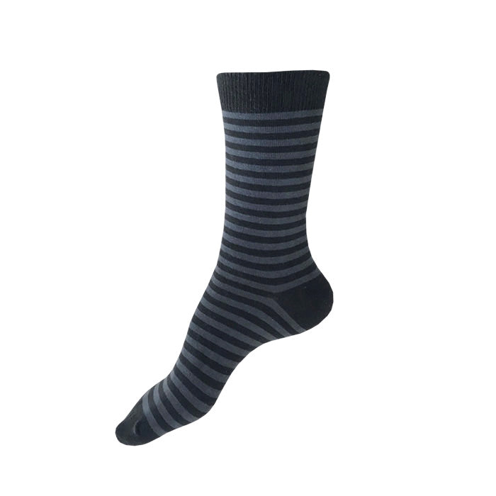 MADE IN USA women's striped cotton socks in black and grey by THIS NIGHT