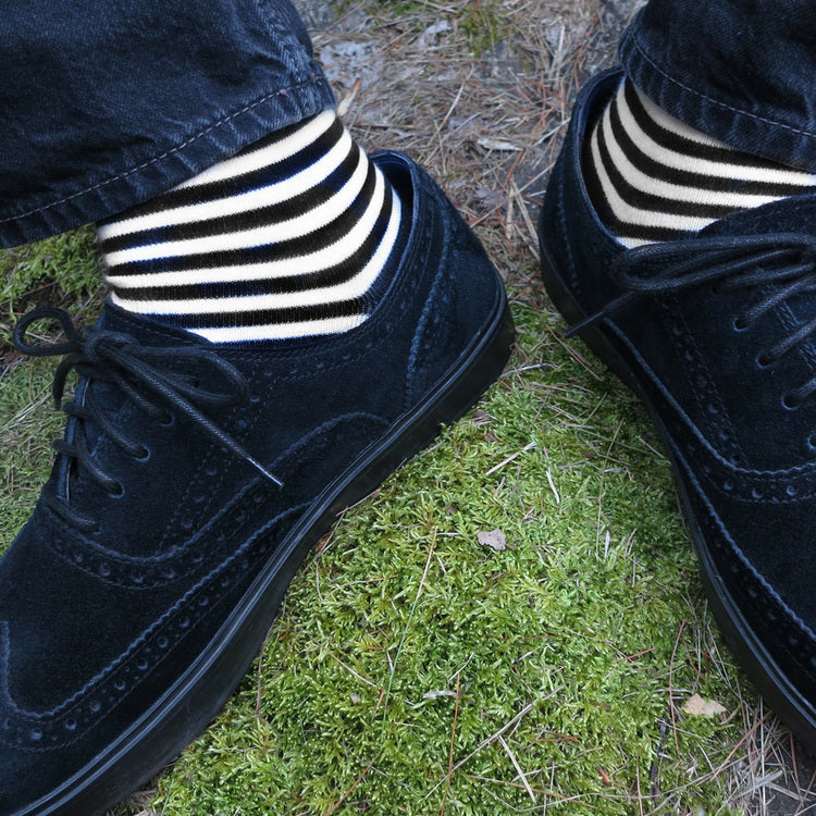 MADE IN USA men's black and white striped cotton socks by THIS NIGHT