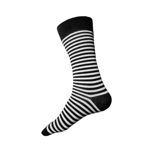 MADE IN USA black and white striped men's cotton sock by THIS NIGHT
