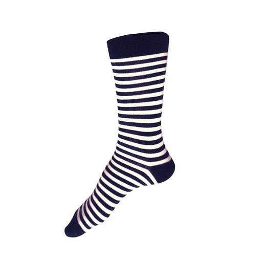 MADE IN USA women's cotton black and white striped socks by THIS NIGHT