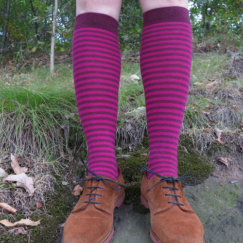 MADE IN USA women's cotton striped knee socks in burgundy + magenta by THIS NIGHT