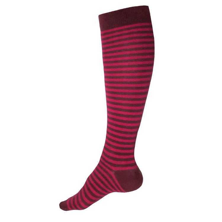 MADE IN USA women's cotton burgundy + magenta  striped knee socks by THIS NIGHT
