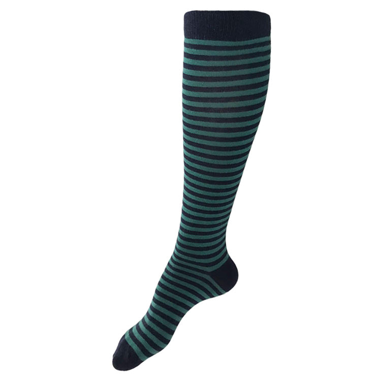 MADE IN USA women's cotton striped knee socks in navy + jade by THIS NIGHT