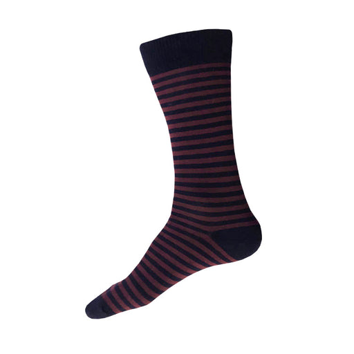 MADE IN USA men's striped cotton socks by THIS NIGHT in navy + burgundy