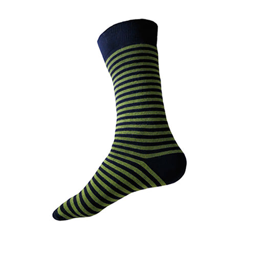 MADE IN USA men's striped cotton socks in navy + fern green by THIS NIGHT