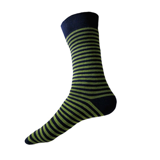 MADE IN USA XL/Big & Tall/King Size men's cotton socks for size 14-18 in navy + green stripes by THIS NIGHT
