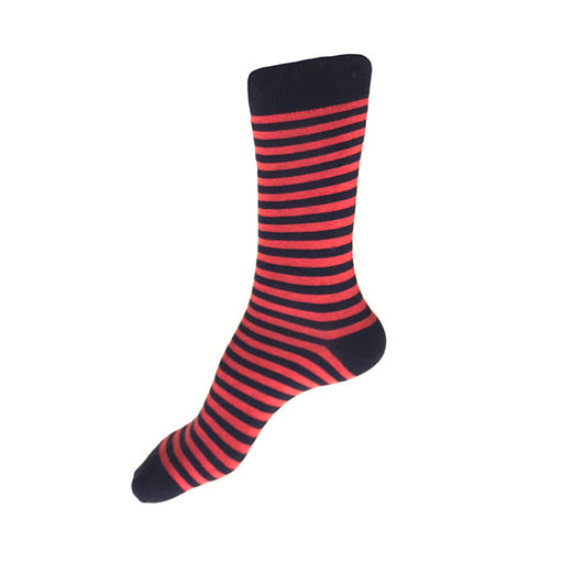 MADE IN USA women's striped cotton socks by THIS NIGHT in navy + reddish-pink
