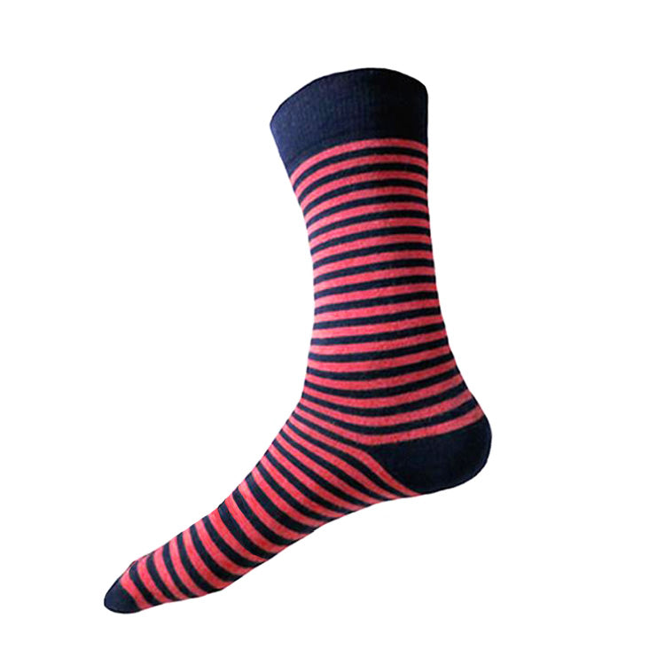 MADE IN USA men's big and tall XL striped cotton socks for size 14-18 in navy + punch red by THIS NIGHT