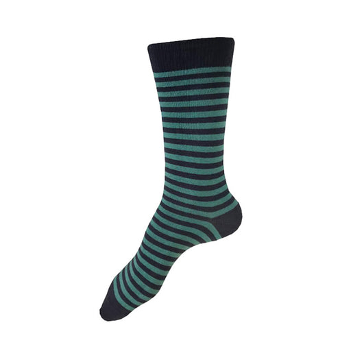 MADE IN USA women's striped cotton socks in navy and teal by THIS NIGHT