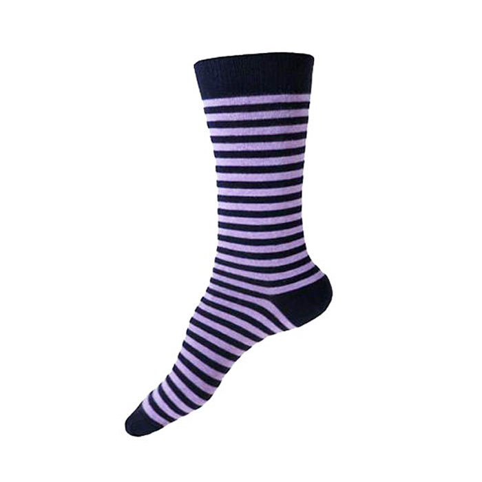 MADE IN USA women's striped cotton socks in navy + purple by THIS NIGHT