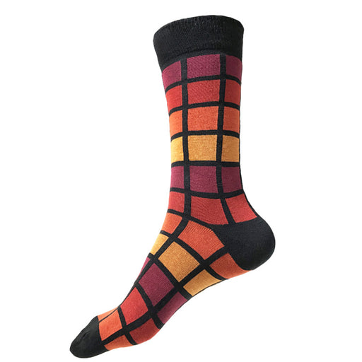 MADE IN USA men's XL/King Size/Big & Tall size 14-18 cotton socks in geometric black, red, orange, yellow, & maroon