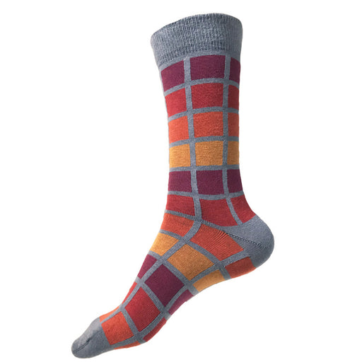 MADE IN USA men's XL/King Size/Big & Tall cotton socks in geometric grey, red, orange, yellow, & maroon Subway style by THIS NIGHT