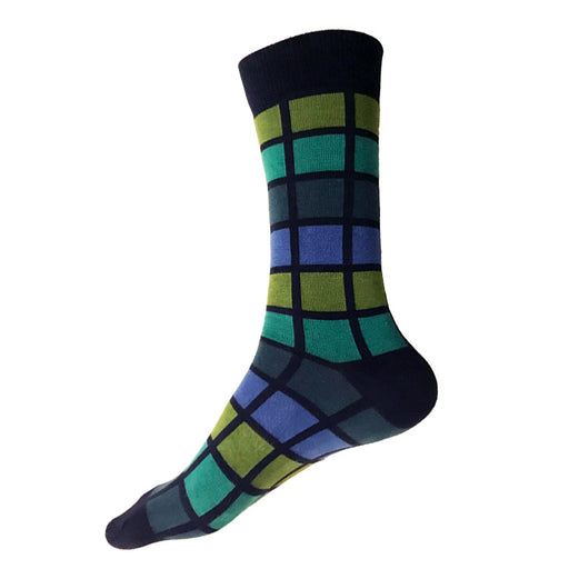 MADE IN USA men's XL/King Size/Big & Tall size 14-18 navy cotton socks in geometric blues & greens