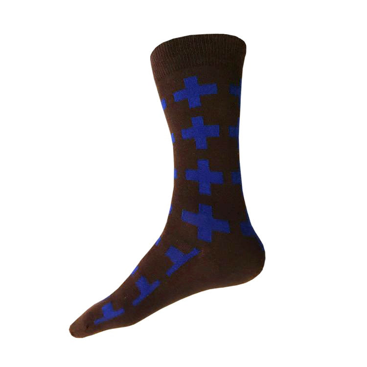 MADE IN USA men's dark brown + cobalt blue geometric cotton socks by THIS NIGHT