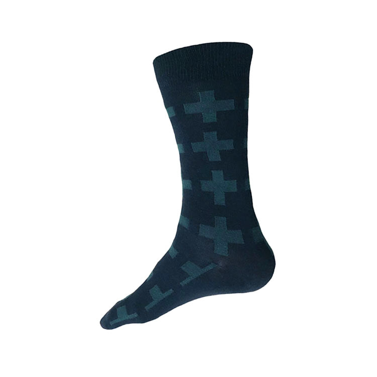 MADE IN USA men's navy + deep teal geometric cotton socks by THIS NIGHT