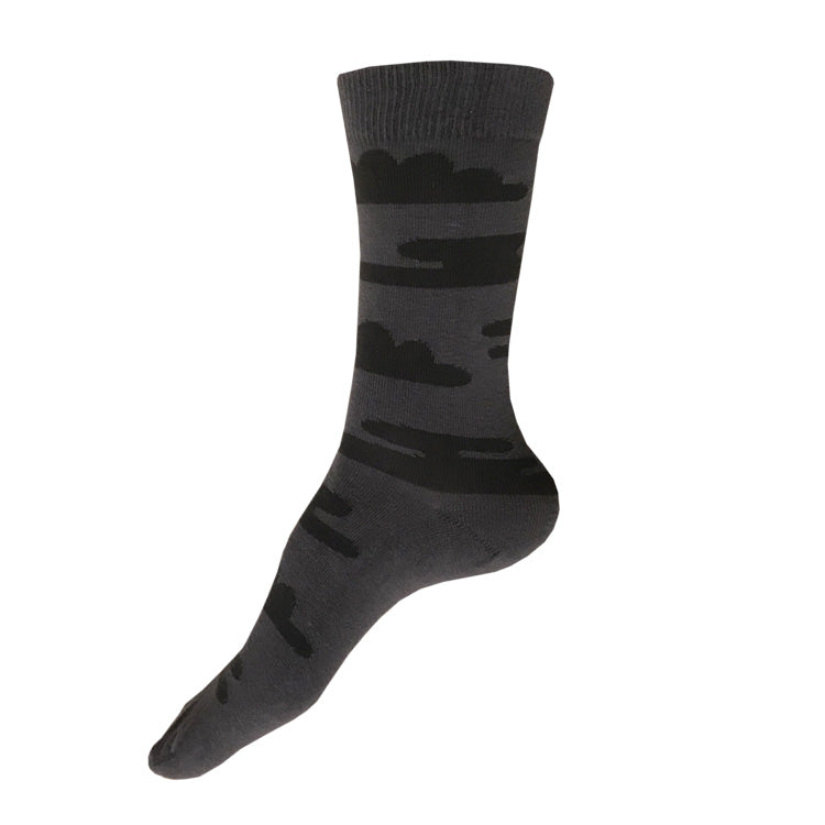 MADE IN USA women's grey + black, Japan-inspired cotton cloud socks by THIS NIGHT