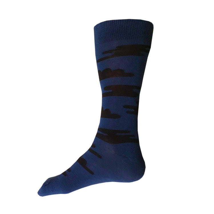 MADE IN USA men's blue + navy, Japan-inspired cotton cloud socks by THIS NIGHT