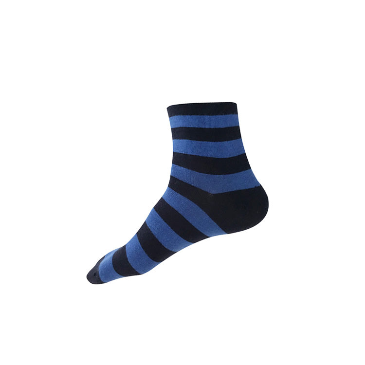 WIDE STRIPE Ankle Socks (M/L) – navy + blue