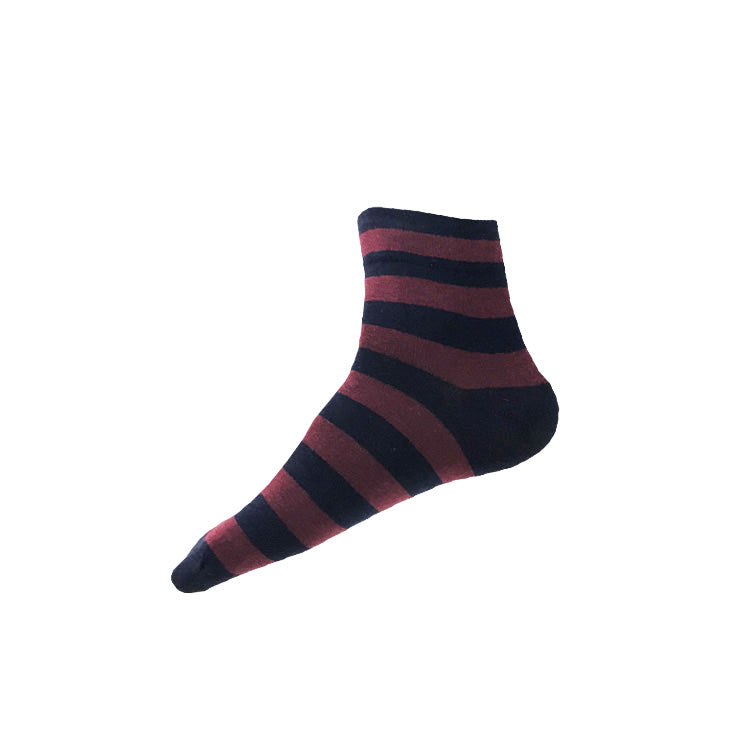 WIDE STRIPE Ankle Socks (M/L) – navy + burgundy