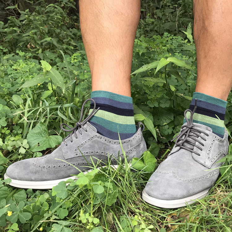 WIDE STRIPE Ankle Socks (M/L) – navy + jade