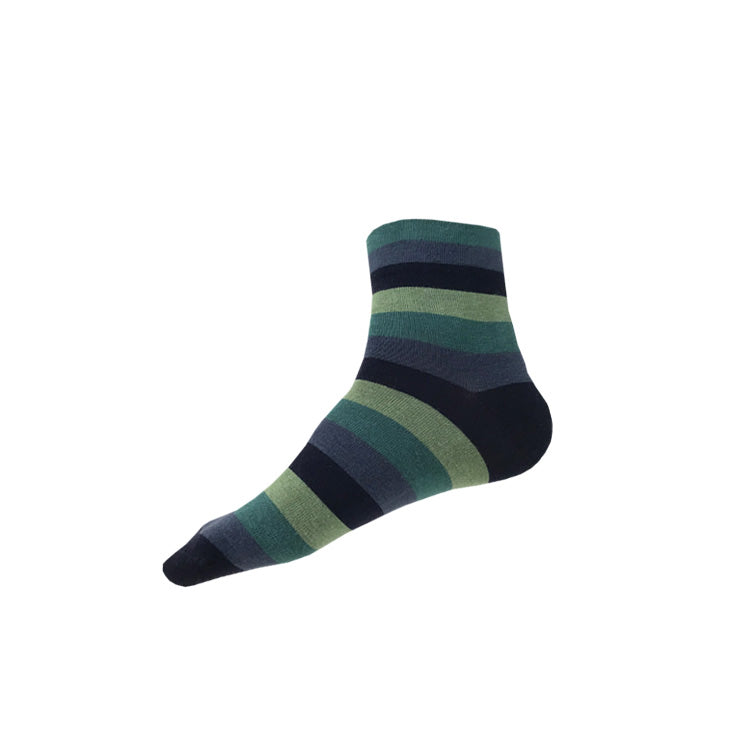 MADE IN USA men's ankle socks with blue and green stripes by THIS NIGHT