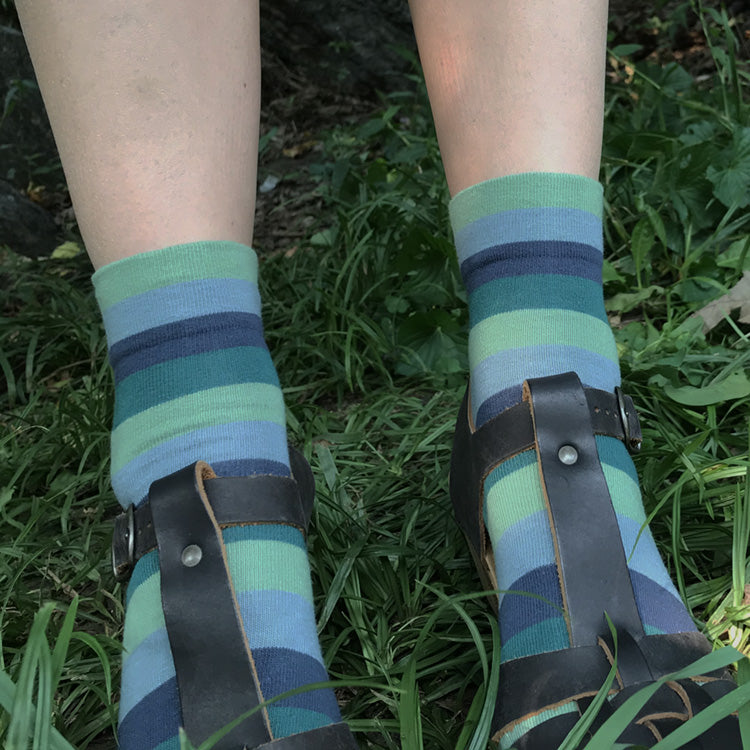 MADE IN USA women's cotton blue & green striped ankle socks by THIS NIGHT