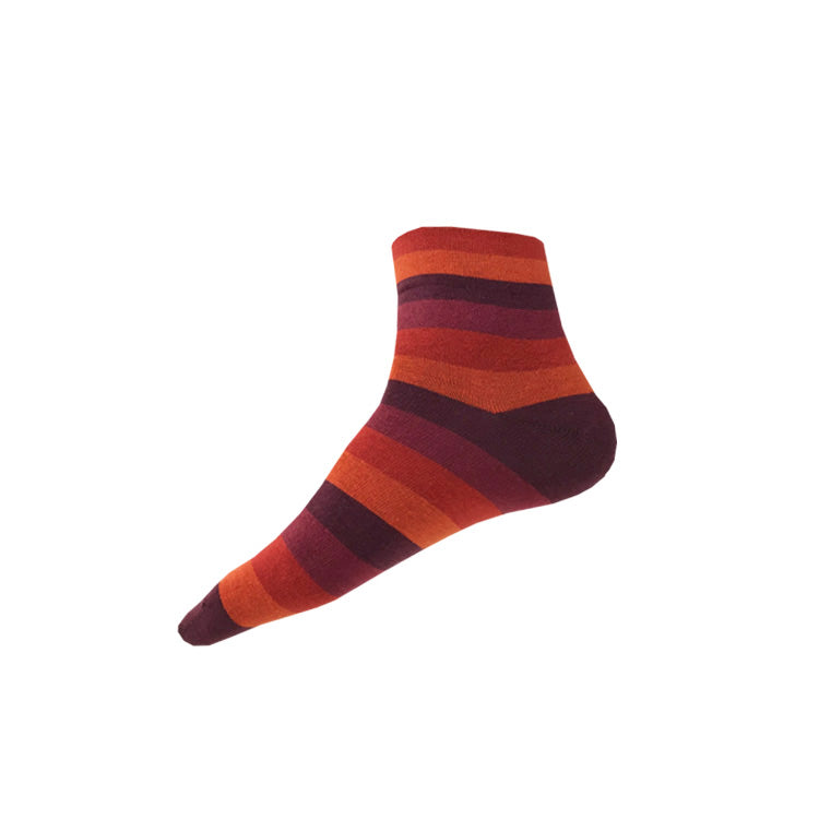WIDE STRIPE Ankle Socks (M/L) – orange + burgundy