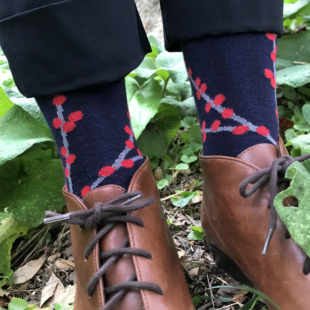 MADE IN USA women's cotton navy winterberry socks by THIS NIGHT