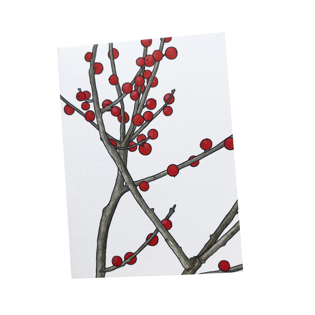 MADE IN USA Flowering Branch Botanical Note Cards by Kate T. Williamson with winterberries