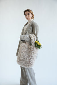 Colour-Field Simple Tote - Cream Fur