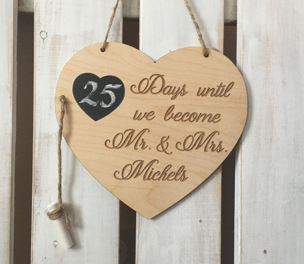 Wedding Countdown Chalboard Heart, Personalized Engagement