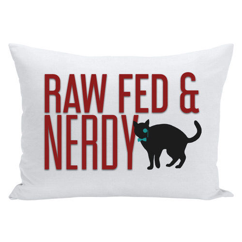 Cat Raw Fed and Nerdy Throw Pillows