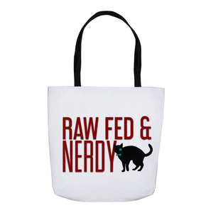 Cat Raw Fed and Nerdy Tote Bag