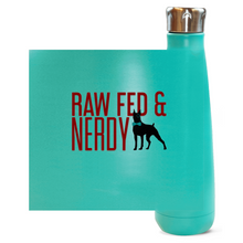 Load image into Gallery viewer, Official Raw Fed & Nerdy Water Bottle (Red Text)