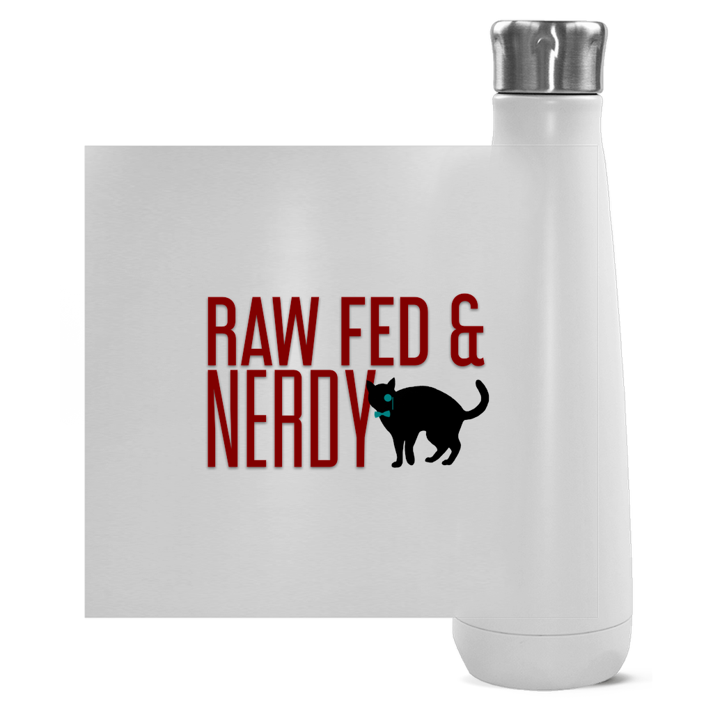 Cat Raw Fed & Nerdy Water Bottle (Red Text)