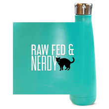 Load image into Gallery viewer, Cat Raw Fed & Nerdy Water Bottle (White Text)