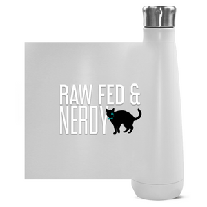 Cat Raw Fed & Nerdy Water Bottle (White Text)