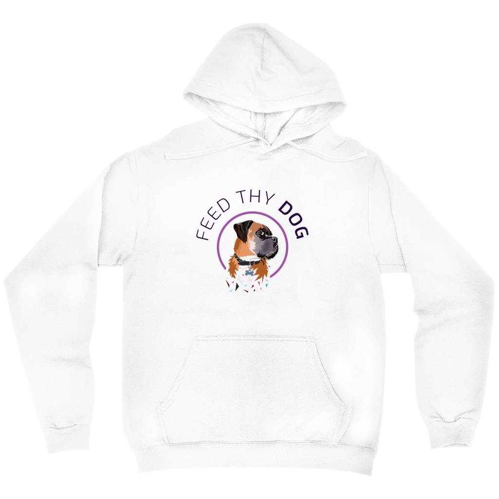 Feed Thy Dog Unisex Hoodie White or Grey
